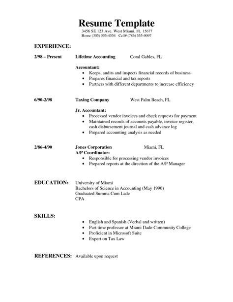 standard resume templates sle of simple resume sle resumes