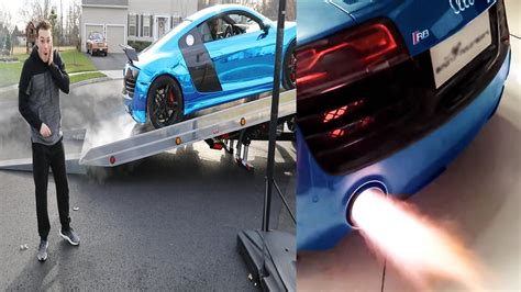 audi r8 lance stewart the loudest audi r8 exhaust ever shooting flames youtube