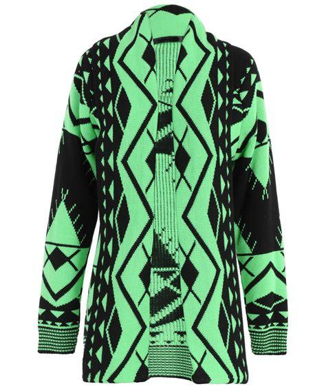 Jacket 02021664 Green Aztec Pattern coloured aztec navajo pattern print knitted shawl cardigan uk 8 14 ebay
