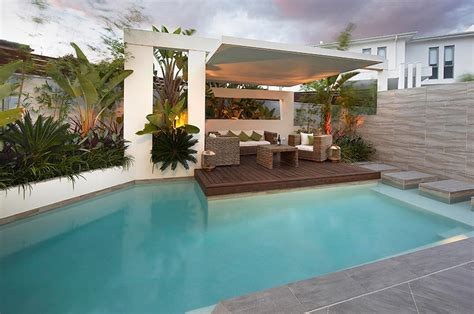 pool area ideas custom pool area undercover patio lounge with garden beds
