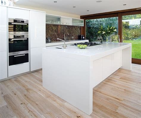 ultra modern white glossy kitchen island decoist