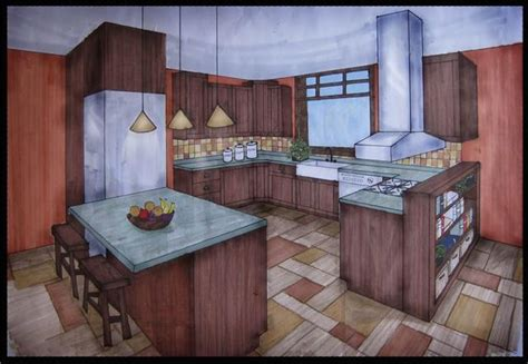 point perspective kitchen  point perspective