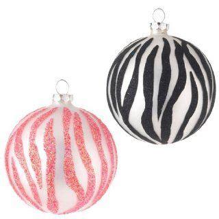 zebra pattern christmas ornaments glass animal paw prints ball christmas ornaments 2 on