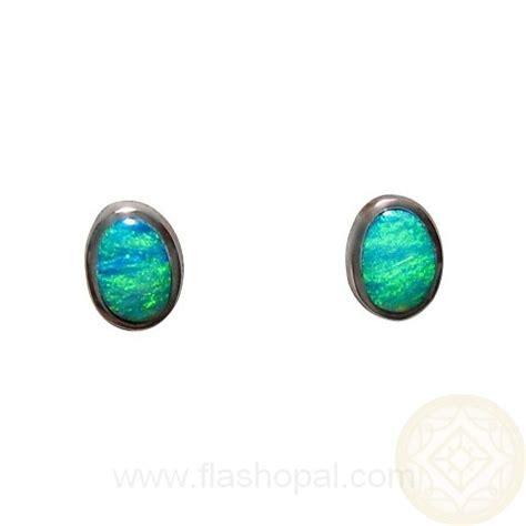 925 blue opal oval stud earrings opal oval earrings opal opal earrings silver studs oval aqua green blue stones