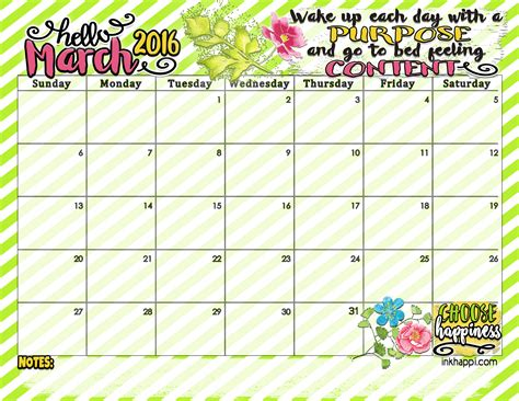 March Calendar March 2016 Calendar With Some Purpose And Contentment