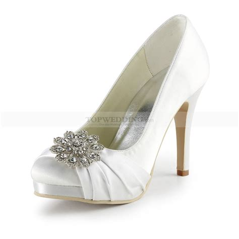 white satin high heels rhinestone flower white satin platform wedding pumps