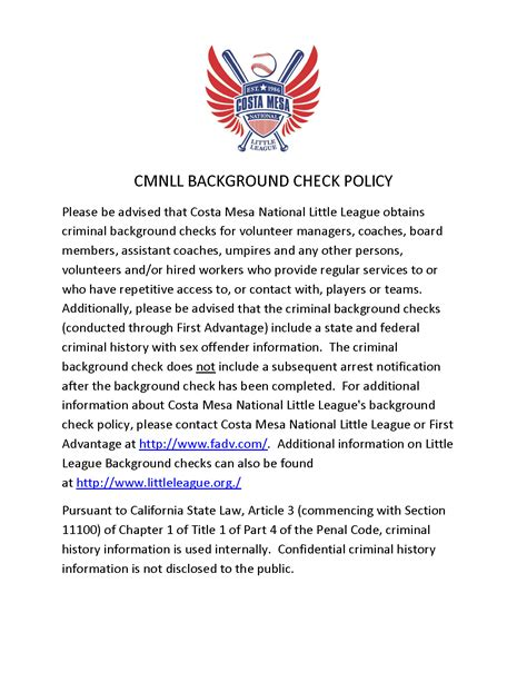 Where To Get Background Check Near Me Background Check Policy Costa Mesa National League