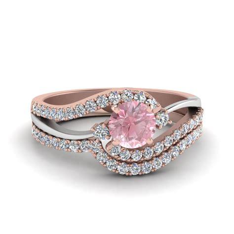 2 tone morganite swirl wedding ring set in 14k gold