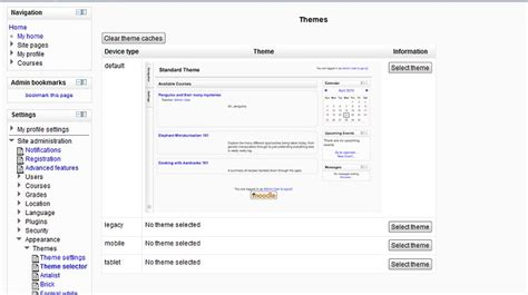 moodle theme selector moodle in english can not see all themes in selector on m2 1