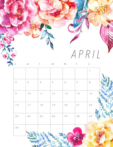 printable art calendar printable april clipart