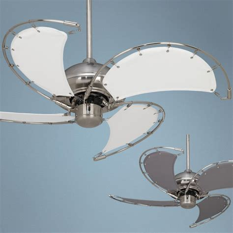 nickel ceiling fan with white blades 40 quot aerial brushed nickel white blades ceiling fan