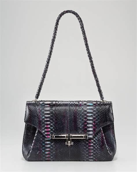 Kara Ross Cella Bag by Kara Ross Urbana Python Shoulder Bag Berry In Black Lyst
