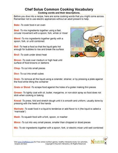 Cooking Vocabulary Worksheet by Our Vocabulary Page Includes Cooking Terms And Definitions Associated Matching Worksheet Can Be