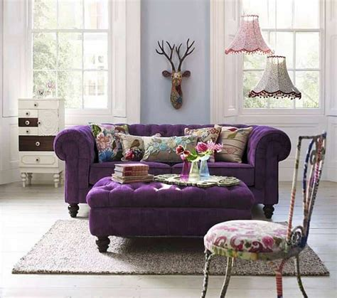 violet sofa violet chesterfield sofa with ottoman as coffee table and