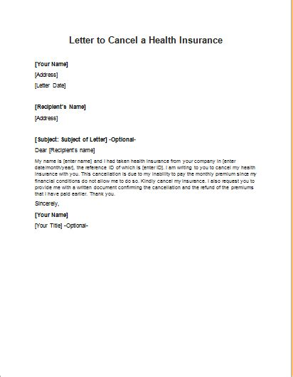 Health Insurance Termination Letter Template   Letter