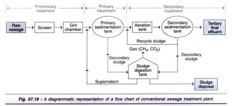 sewage treatment flow diagram processes of waste water treatment 4 process with diagram