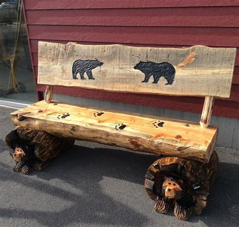 log benches with backs chainsaw carved rustic half log bear bench w back great northern logworks