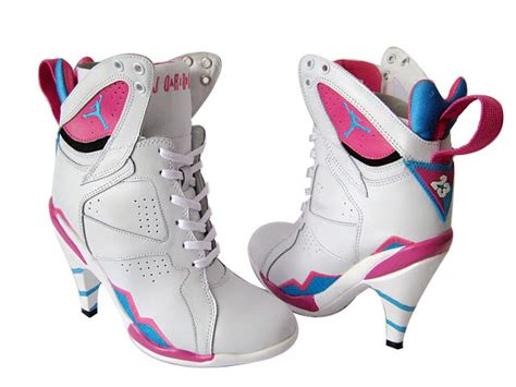 air 7 high heels silver white pink sport