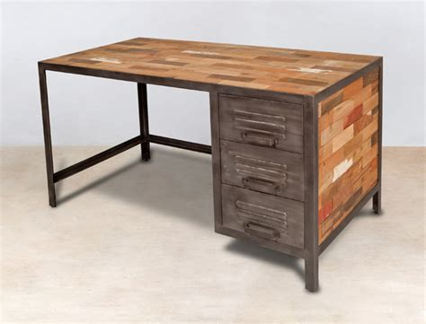 bureau m騁al et bois bureau industriel bois et metal maison design bahbe com