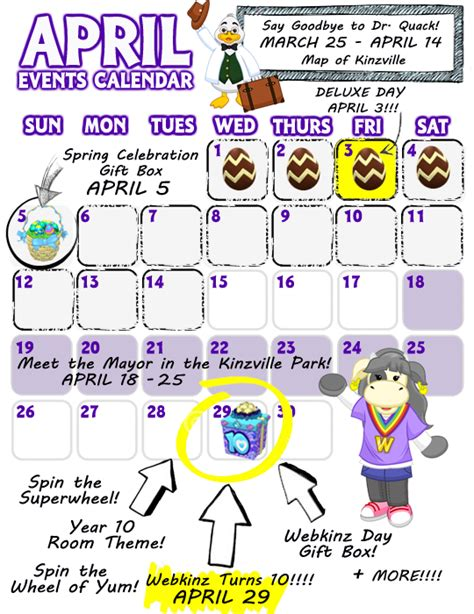 themed events for april april event calendar wkn webkinz newz