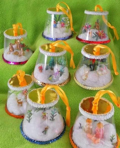 how to mske christmas ornaments with plastic cups would be clear plastic cups and sone cardboard make whatever you like upcycle