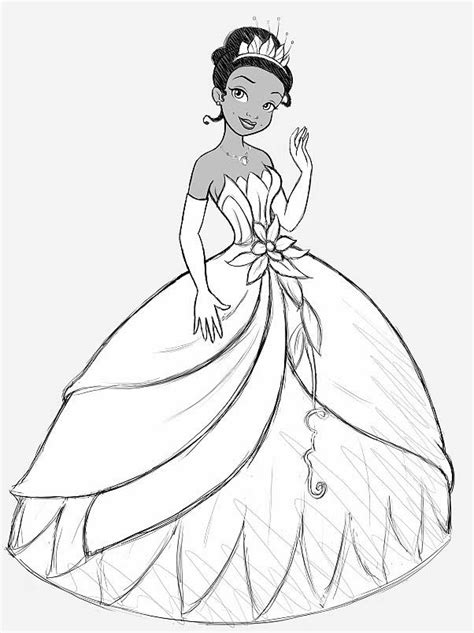 coloring page of princess and the frog princess tiana and the frog coloring pages free