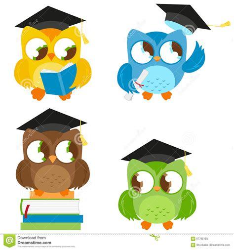 imagenes vectores infantiles owls with graduation hats education set stock vector
