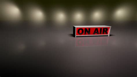 radio background on air sign with a radio tv announcer in the background