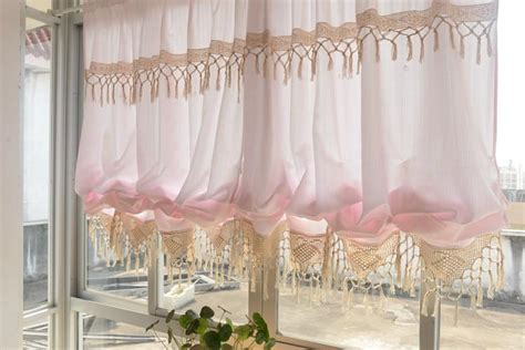 balloon curtains for kitchen country blue pink sheer pull up balloon austrian