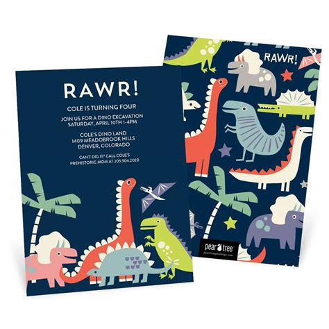 birthday invitations dinosaur rawr birthday invitations pear tree