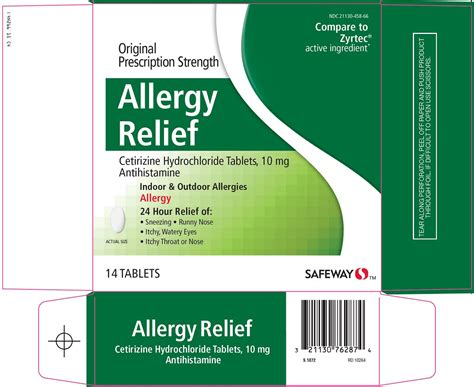 allergy remedies allergy relief 24 hour safeway cetirizine hydrochloride 10mg tablet