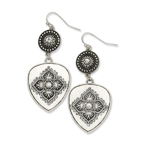 Floral Dangle In 14k With Silver And Clear Cubic Zirconia P 278 silver tone clear floral motif dangle earrings bf949