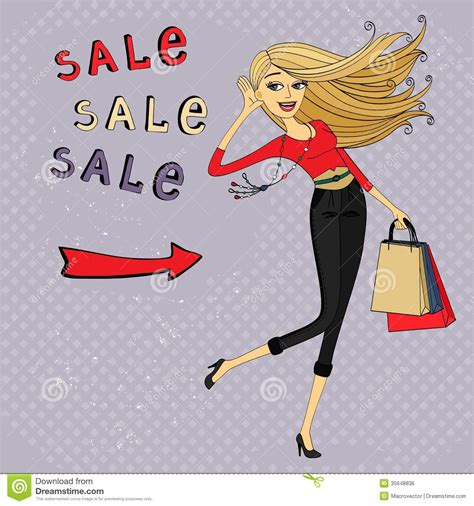 fashion illustration for sale fashion sale ad shopping with bags royalty free stock image image 35648836