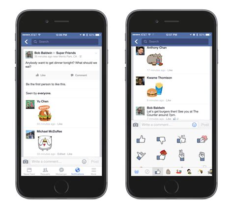 mobile comfacebook stickers introduced to comments groups and events