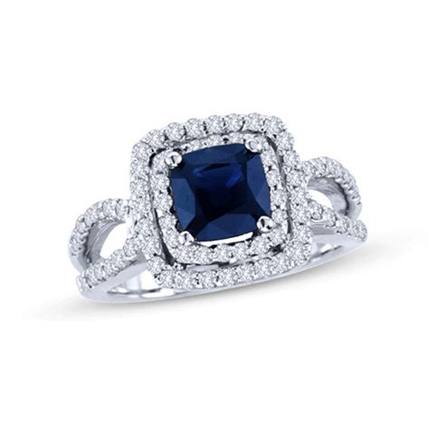 6 5mm cushion cut blue sapphire and 3 4 ct t w