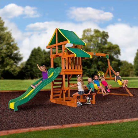 walmart outdoor swing sets backyard discovery tucson cedar wooden swing set walmart com
