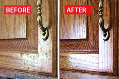 clean away the grime on wood kitchen cabinets