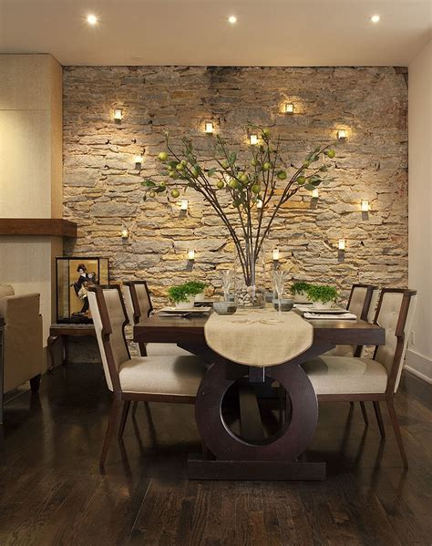 15 Gorgeous Dining Rooms With Stone Walls Dining Room Decor