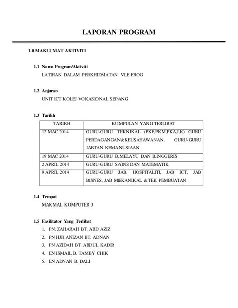format laporan unit hem laporan program frog