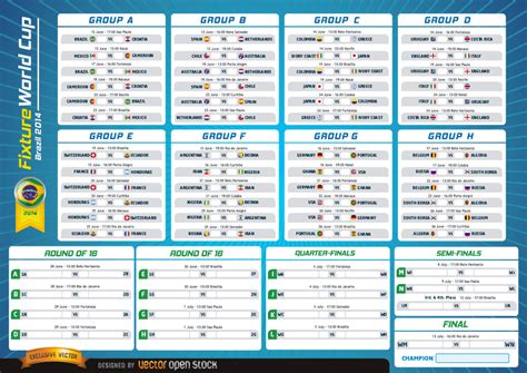 schedule photoshop world fixture world cup brazil 2014 free vector