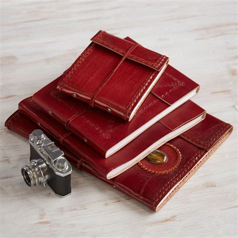 Handmade Leather Photo Albums - handmade leather photo album by paper high