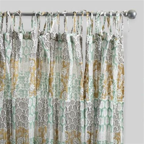 cotton voile curtain panels boho patch crinkle cotton voile curtains set of 2 world