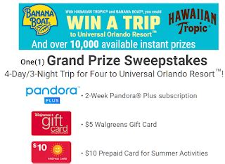 Pandora Music Gift Card - banana boat summer fun instant win giveaway 10 100 winners win 5 walgreen gift