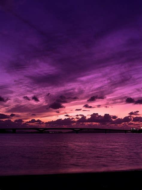purple sky ocean ipad wallpaper