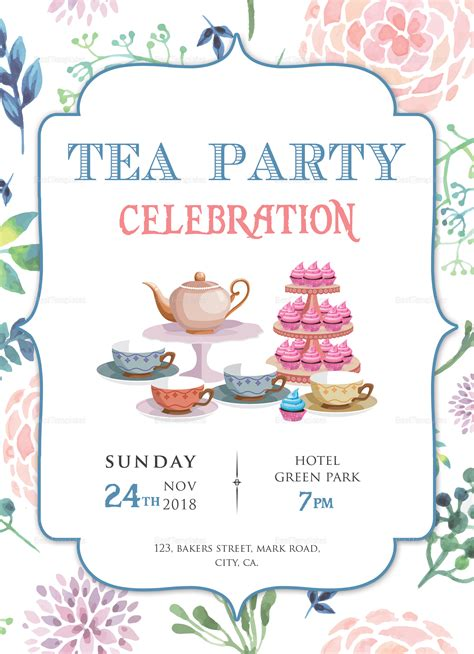 Elegant Tea Party Invitation Design Template In Word Psd Tea Invitation Template Word