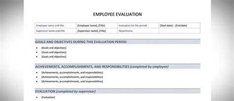 Free Employee Evaluation Template For Word Powerpoint Presentation Employee Performance Review Template Word