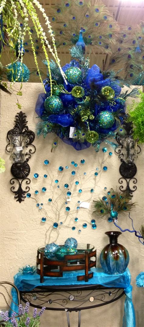 peacock blue home decor blue peacock theme display designed by arcadia floral