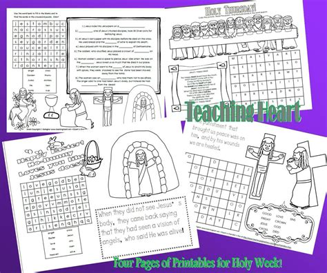 printable christian easter activity sheets free holy week printables for kids teaching heart blog