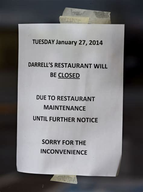 Closing Restaurant Letter To Customers closing time for darrell s restaurant local