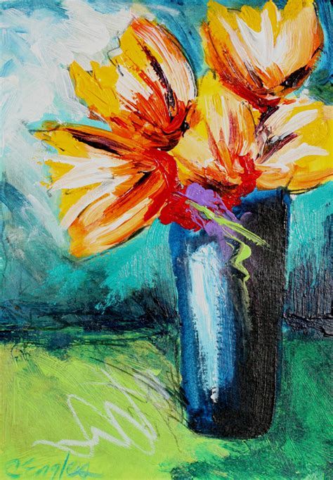 Acrylic Painting Of Flowers In A Vase by Carol Engles Yellow Bouquet In Blue Vase Acrylic